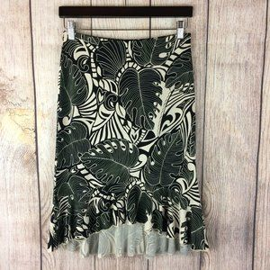 The Limited Black White Leaf High Low Skirt Sz S